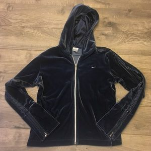 Nike Velour Hoodie with Satin lines on arms